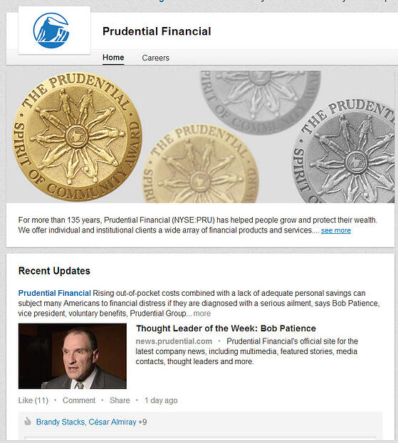 Prudential Financial Linkedin Company Page