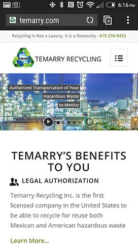 mobile optimized website temarry recycling
