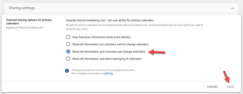 Adding G Suite Calendar to Outlook-Step 4